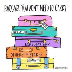 Some days, we carry around our emotional baggage every where we go. The baggage of guilt, negativity, and the expectations of others are not ours to carry. Gently examine what's in your suitcase today and unload that extra weight holding you down. Mental Health Quotes, Mental Health Awareness, Mental Health Stigma, Image Positive, Motivation, Motivacional Quotes, Coping Skills, Stress Management, Baggage