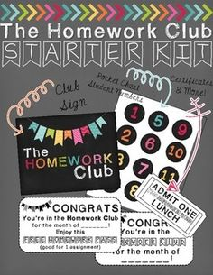 Read about how I use the Homework Club in my classroom HERE!Leave feedback on this product and receive any $1 item from my store FREE. Just email sharpinsecondblog[at]gmail once you've submitted your feedback telling me which product you want. I'll email it to you within 24 hours!}This resource includes everything you need to implement this incentive system for homework!