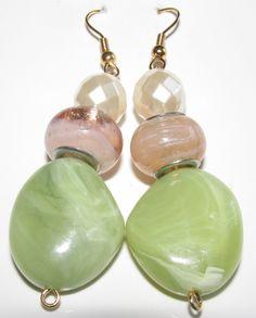 Peach and Jade Green Earring