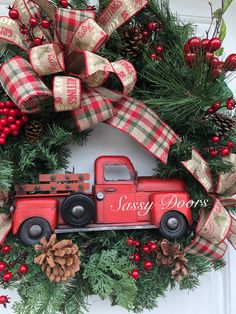 Red Truck Christmas Wreath, Rustic Christmas Wreath, Woodland Christmas Decor, Country Christmas Decor, Red Christmas Decor, Snow Christmas Wreath< Rustic Christmas Decor  Sassy Doors Wreath, Home And Living  PLEASE NOTE: Please message me with your state and zip code for shipping times if you live Christmas Tree With Snow, Cowboy Christmas, Christmas Wreaths To Make, Woodland Christmas, Christmas Fabric, Holiday Wreaths, Rustic Christmas, Christmas Crafts, Winter Wreaths
