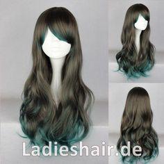 Ladieshair.de Haarteile und Haarverlängerungen | Ladieshair Cosplay Perücke braun grün 68cm wellig Dipdyed Hair | online kaufen
