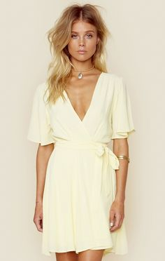 "<p class=""product-desc-body"">Sunday brunchin' in the Privacy Please Frisko Dress. Featuring a deep v neckline with wrap style front, rayon fabrication, and billowy sleeves. </p>  </p><ul class=""product-desc-list""><li>Imported</li><li>Dry Clean Only</li><li>100% Rayon</li></ul><p class=""product-desc-head"">Fit Guide:</p><ul  class=""product-desc-list""><li>Model is 5ft 9 inches; Bust: 32"", Waist: 24"", Hips: 34""</li><li>Model is wearing a size XS</li><li>Relaxed Fit</li><li>Shoes Featured Not…"