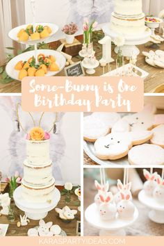 Kara's Party Ideas Some-Bunny is One Birthday Party Bunny Birthday Cake, Easter Birthday Party, First Birthday Themes, Baby Girl First Birthday, Boy Birthday Parties, First Birthdays, Spring Birthday Party Ideas, Birthday Eve, Bunny Party