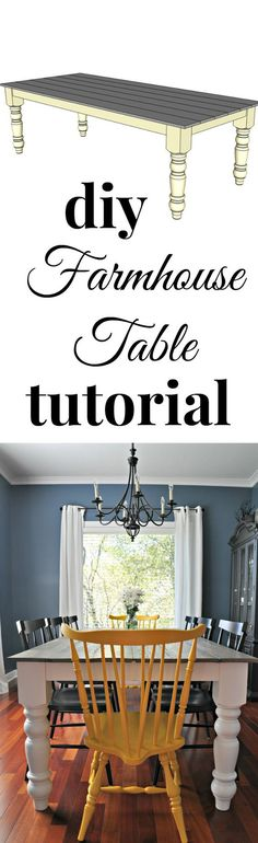 DIY farmhouse table tutorial.  Great diagrams to help you along!