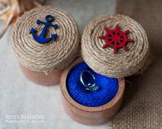 Set of 2 Nautical Personalized Ring Bearer Ring by RusticBeachChic, $32.00
