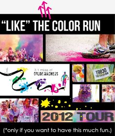 "5 miles of color fun.  Begin the race wearing all white, finish the race looking like Lucy in the Sky With Diamonds"":)"