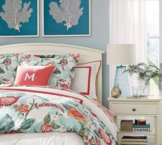 Mix in pops of turquoise and coral with your bedding this summer for a preppy, tropical feel!
