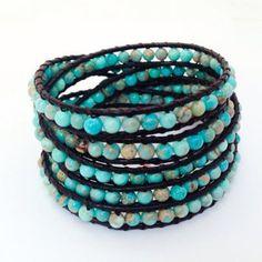 Aquamarine Jasper Wrap Bracelet - $49.00