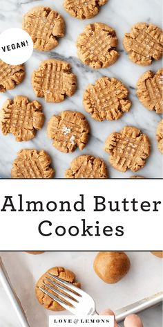 This almond butter cookies recipe is SO easy and delicious! Made with simple, healthier ingredients, the cookies are tender, rich, and super yummy. Vegan! | Love and Lemons #cookies #almond #vegan #baking #desserts Delicious Cookie Recipes, Holiday Cookie Recipes, Healthy Dessert Recipes, Healthy Desserts, Baking Desserts, Holiday Treats, Yummy Food, Almond Butter Cookie Recipe, Galletas Cookies