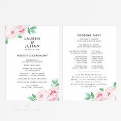Printable Wedding Program Printable- Botanical Floral Wedding Program Download - Ready to Print PDF- Letter or A4 Size (Item code: P985)