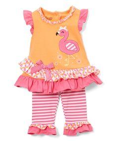 Pink & Orange Flamingo Tunic & Leggings - Infant Toddler & Girls
