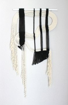 """Macrame Wall Hanging """"blk + wht #8"""" by HIMO ART, One of a kind Handcrafted Macrame, rope art"""
