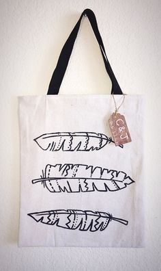 Three Feathers Tote Bag by CLAIREandJAMESdesign on Etsy
