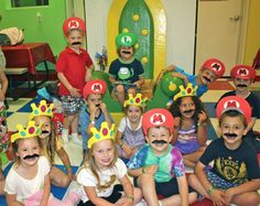 Princess Peach crowns were made from foam visors turned upside down and cut like a crown and decorated. The Mario and Lugi hats were done the same way, but used matching foam to make the visor and super glued, then secured with hot glue. Of course, you can't have a Mario party without mustaches (Amazon.com). The kids loved it!