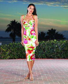 Algra wiggle dress, Krem/rød/grønn