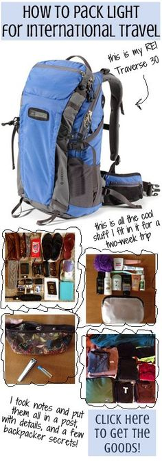 Ninja Packing Tips: Pack for two weeks in a 30L backpack. Find out how to minimize your packing, select just the right combination of clothes without bringing items you don't need, and of course, how to choose the perfect shoes to take with you.