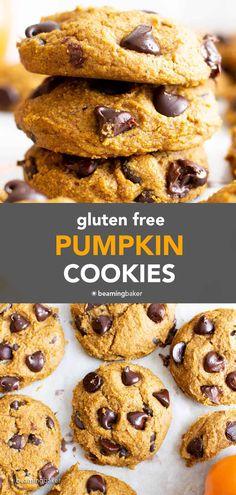 Gluten Free Pumpkin Cookies (Vegan) - Beaming Baker Healthy Chocolate Chip Cookies, Pumpkin Chocolate Chip Cookies, Healthy Cookies, Cookies Vegan, Gf Cookie Recipe, Pumpkin Cookie Recipe, Pumpkin Recipes, Gluten Free Pumpkin Cookies, Vegan Gluten Free Desserts
