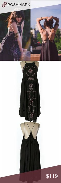 Like new Free people diamonds in the sky maxi So beautiful and lightweight, this dress is in excellent condition, perfect for summer festivals. Brown dress with pink embroidery. Embroidered dress with crochet detailing throughout. Thin straps. Lined.  *100% Rayon *Lining: 100% Cotton *Hand Wash Cold *Import  In wearing a crochet bralette under I'm picture one. The dress is amazing I just need a small in it. It was really only worn once Free People Dresses Maxi