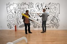 the Color Me ____ art exhibit at the Indianapolis Museum of Contemporary Art by Andrew Neyer and Andy J. Miller made me smile. Would love to use one of those giant markers and color on a wall.