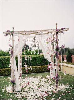 white wedding altar on pier - Google Search