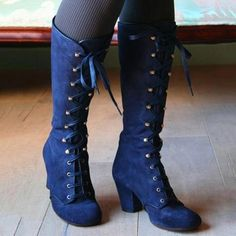 Gothic Stumpunk Lolita Womens Lace Up Boots Victorian Cosplay Costume Shoes Women's Lace Up Boots, Blue Boots, Chunky Heel Boots, Suede Boots, Moda Steampunk, Steampunk Shoes, Steampunk Accessories, Mode Costume, Punk Boots