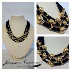 necklaces collar tiras negras con dorado