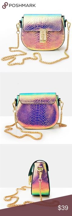 Coming Soon! Metallic Hologram Crossbody Mini Bag NWT Boutique Item,, This hologram vegan leather handbag features a Versatile silhouette (crossbody, shoulder bag), Metallic iridescent snake skin like fabric, gold chain shoulder strap, lining, gold hardware, and one inside non zip pocket. Measurements: amannequin Bags Crossbody Bags