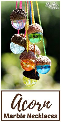 Nature Crafts DIY Acorn Marble Necklace - this is an easy nature craft for kids and adults. Made with natural acorn caps, they're the perfect piece of handmade jewelry - for yourself or a gift. They also make wonderful window decorations. Crafts For Teens To Make, Crafts To Sell, Diy For Kids, Easy Crafts, Diy And Crafts, Autumn Crafts For Adults, Sell Diy, Kids Crafts, Marble Necklace