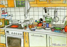 Kitchen_sketch-interier_naive perspective_author Viktoriya Crichton.