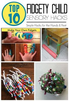 Sensory Hacks for Fidgety Child. Do you know a child who seems to always have something in their hands? Theyre always touching something? Does this child seem to need extra help staying focused during activities? If so, read this post for some sensory h Sensory Tools, Sensory Diet, Sensory Activities, Activities For Kids, Autism Sensory, Sensory Issues, Sensory Play, Diy Sensory Toys, Sensory Therapy