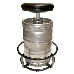 NEW lower pricing! If you're king of the keg stand, it's about time you mastered the keg sit! This metal bar stool takes your love of the brew to new, 32 , swivel heights. No nonsense and easy to assemble...
