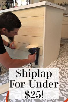 Jul 2019 - Hey there and welcome! I'm so excited to share the latest project in our budget-friendly kitchen reno! We just finished giving our kitchen peninsula a shiplap l Farm Kitchen Ideas, Farmhouse Kitchen Island, Rustic Kitchen Decor, Kitchen Islands, Soapstone Kitchen, Kitchen Peninsula Diy, Kitchen Island Decor, Wall Decor For Kitchen, Small Kitchen Decorating Ideas
