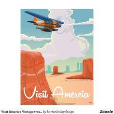 Visit America Vintage travel poster Postcard