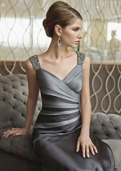 Elegant Silver Long Mother Of The Bridemaid Dresses - Item code: SYA640