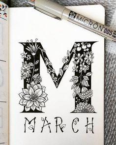 March bullet journal art