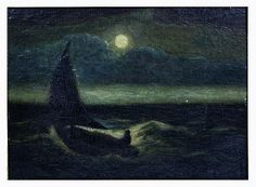 Untitled man in boat on moonlit sea, Albert Pinkham Ryder, oil on panel, 11 by private collection. Nocturne, Dark Phoenix, Phoenix Bird, Moonlight Painting, Night Sea, Winslow Homer, Examples Of Art, Painting Gallery, Art
