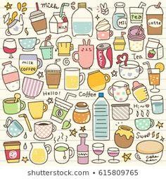 Food Doodles, Kawaii Doodles, Cute Kawaii Drawings, Cute Doodles, Doodle Art, Doodle Icon, Doodle Drawings, Mini Drawings, Easy Drawings