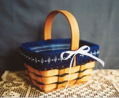 Bitty Basket Liner - Counted Thread Pattern (INSTANT DOWNLOAD) / Hardanger / Pulled Thread / Specialty Stitch / Digital PDF / navy blue
