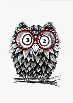 """Illustration """" Hibou à lunettes """" (format A4 : 21 x 29,7cm) portrait animal…"""
