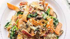 Veggie noodles are a delicious way to have your pasta and get more veggies while you're at it. Which means, more butter for you—or at least for me! In this easy twist on a fave, sweet potato ribbons (spiralized or julienned sweet potato would also work) are tossed with mushrooms, bacon and butter-butter-butter for a quick and creamy dinner you will want to eat thrice weekly.