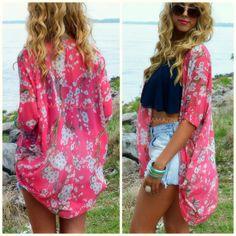 Summer Blosson Hi-Lo Pink Floral Kimono