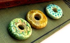 Rustic donut shaped beads.
