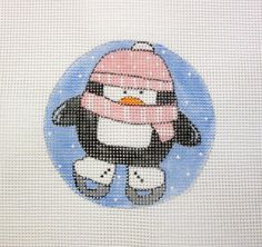 Ice Skating Penguin in Pink Handpainted by MarsyesShoppe on Etsy