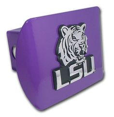 LSU Tiger Mascot Purple Hitch Cover. Made in the USA.  http://www.prideonmyride.com/LSU-Tiger-Mascot-Purple-Hitch-Cover_p_316.html
