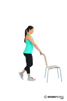 Single Leg Squats with Chair Exercise Demonstration via @SparkPeople
