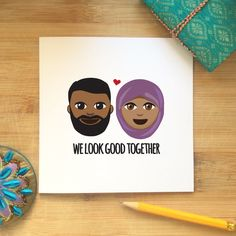 Blank Card  We look good together Valentines by KushiyaDesigns