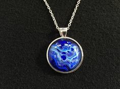 Royal Blue Navy and Sky Blue intertwine in this beautiful pendant necklace by Jo Appleby.