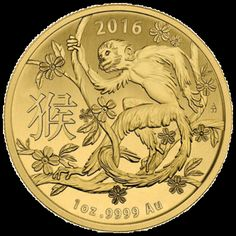 2016 1 Oz Gold Lunar Year of The Monkey Coin Fine BU in Cap - Australian R for sale online Gold Coins For Sale, Gold And Silver Coins, Silver Bars, Bullion Coins, Gold Bullion, Year Of The Monkey, Coin Design, E Mc2, Mint Gold