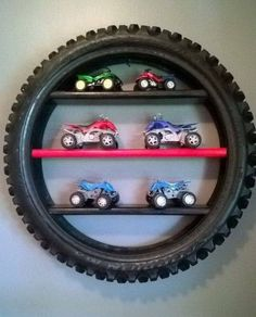 tire display shelf, Creative Ways to Repurpose Old Tires, toy car storage, kids room decor Bedroom Themes, Kids Bedroom, Race Car Bedroom, Car Bedroom Ideas For Boys, Truck Bedroom, Garage Theme Bedroom, Trendy Bedroom, Bedroom Designs, Master Bedroom