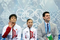 By YURI KADOBNOV AFP Getty Images Japan's Narumi Takahashi and Japan's Ryuichi Kihara wave in the kiss and cry zone during the Figure Skatin...